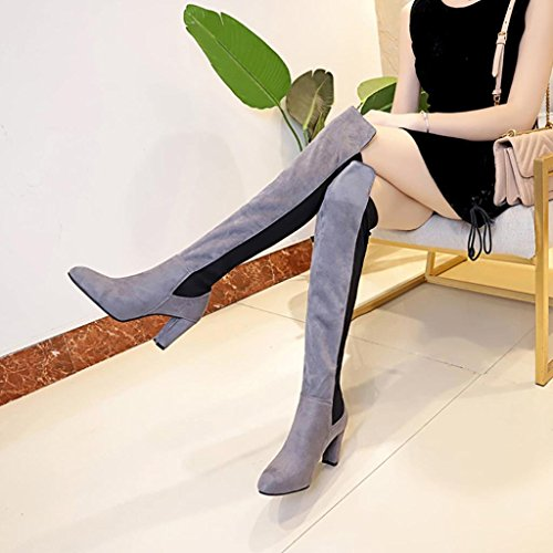 Stretch Over Tall Gray Elegant High Leather Women Knee High Hot Heels Boots Slim Party Faux Evening Sexy Shoes dqnAY1