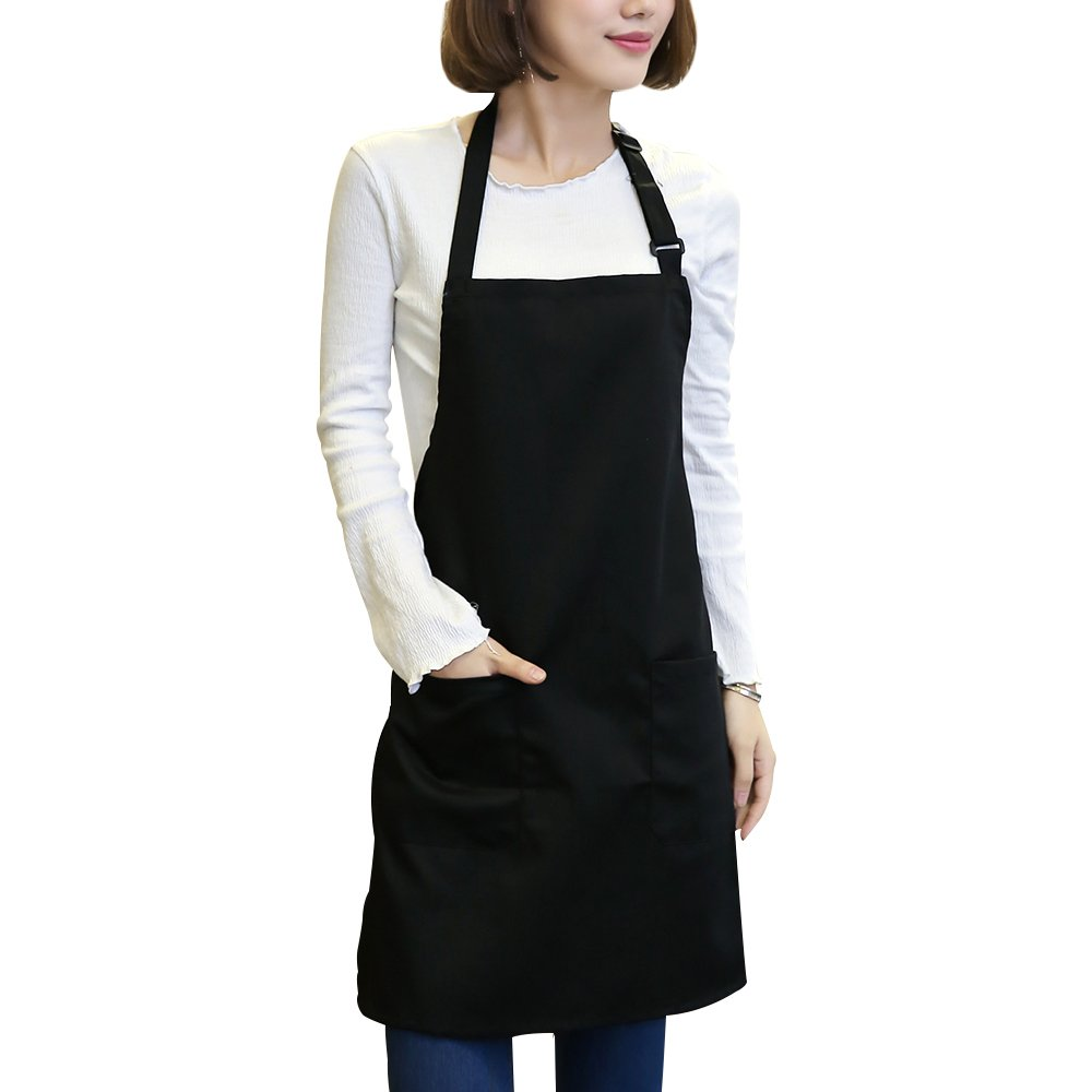 Kaimao Adjustable Bib Aprons Waterproof with 2 Pockets Unisex Aprons for Kitchen Restaurant Cooking - Black(29.5 x 25.6 inch)