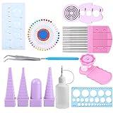 GLOGLOW 11 in 1 Paper Quilling Tools Kit, Paper Ornaments Crafts DIY Paper Rolling Kit Crimper Comb Ruler Pins Border Buddy Set