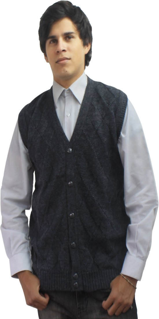 Mens Soft Alpaca Wool Knitted V Neck Sweater Button Down Golf Vest Diamond Design (XL, Gray)
