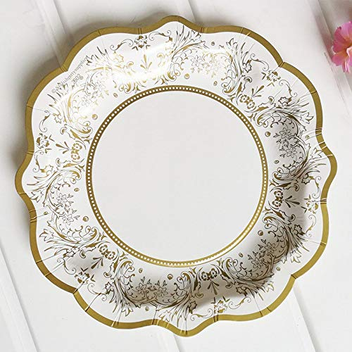 Gold Happy 12pcs/set Gold Party Floral Paper Plate Tea Party Picnic Dessert Dishes Tableware Disposable Wedding Decor Birthday decorate -