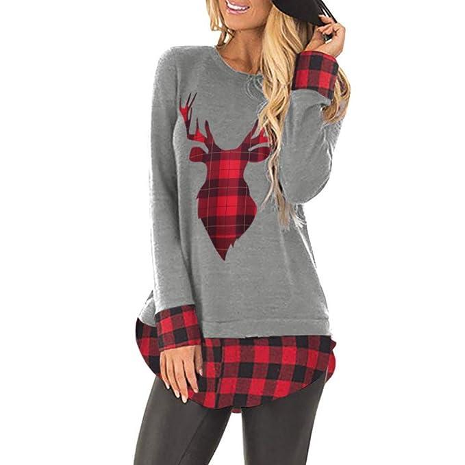 8775d7954c6d2e WHSHINE Damen Mode Pullover Bluse Tops Weihnachten Blumen Drucken Kariert  Langarm Sweatshirt Cute Hemd Mantel Weihnachtspullover