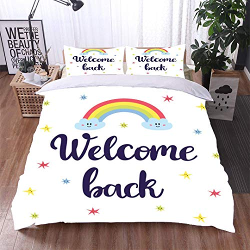 VROSELV-HOME Full Queen Duvet Cover Sets,Welcome Back Inspirational Quote Hand Drawn Lettering Motivational Poster Kids Bedding-Does Not Shrink or Wrinkle