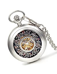 Lancardo Flower Carving Skeleton Cover With Skeleton Dial Gold Tone Movements Pocket Fob Watch(Silver)