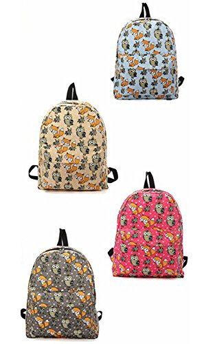 Minetom Lona Backpack Mochilas Escolares Mochila Escolar Casual Bolsa Viaje Moda Fox Búho Mujer Azul