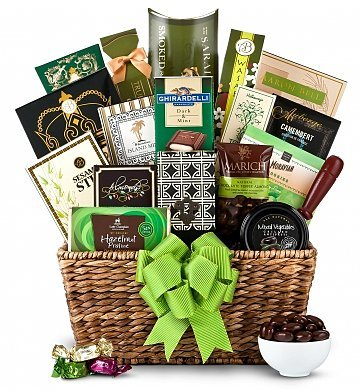 Amazing Green Elegance Gift Basket   Unisex   Holiday Christmas Gift Baskets Ideas  For Men, Women