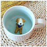 3D Cute Cartoon Miniature Animal Figurine Ceramics Coffee Cup - Baby Animal Inside, Best Office Cup & Birthday Gift (Dog)