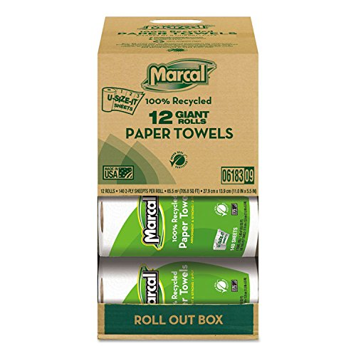 Marcal 6183 100% Recycled Roll Towels, 2-Ply, 5 1/2 x 11, 140 Sheets, 12 Rolls/Carton -