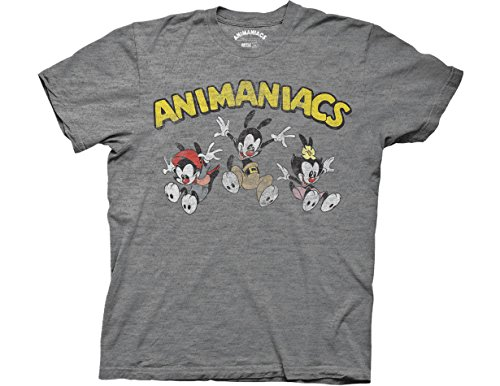 Ripple Junction Animaniacs Adult Unisex Jumping Group with Logo Light Weight Crew T-Shirt SM Heather Platinum
