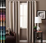 "TURQUOIZE Blackout Curtain Set Thermal Insulated Grommets Draperies Bedroom Curtains, Beige/ Ivory, 52"" W x 84"" L"