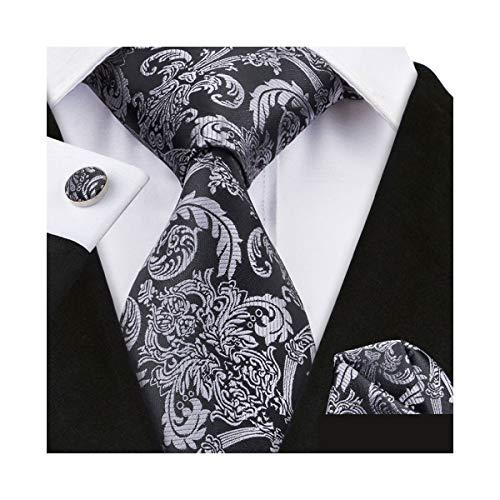 YOHOWA Mens Silver Black Silk Tie Pocket Square Paisley Necktie Cufflinks Set -