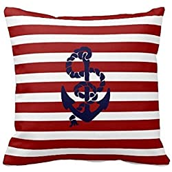 Throw Pillow Cases, Hidoon® Joy City Reversible Red Blue Nautical Anchor Pillow Cover Throw Pillowcase 18 X 18 Square Throw Pillow Cover Cushion