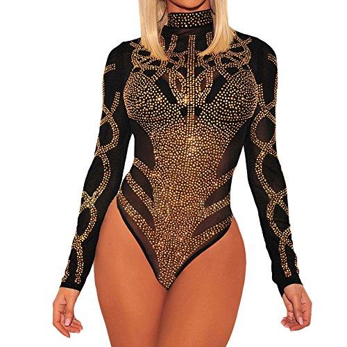(SUBWELL Women's Sexy See Through Mesh Studded Long Sleeve Bodysuit Leotard Jumpsuit (Large, Black1))