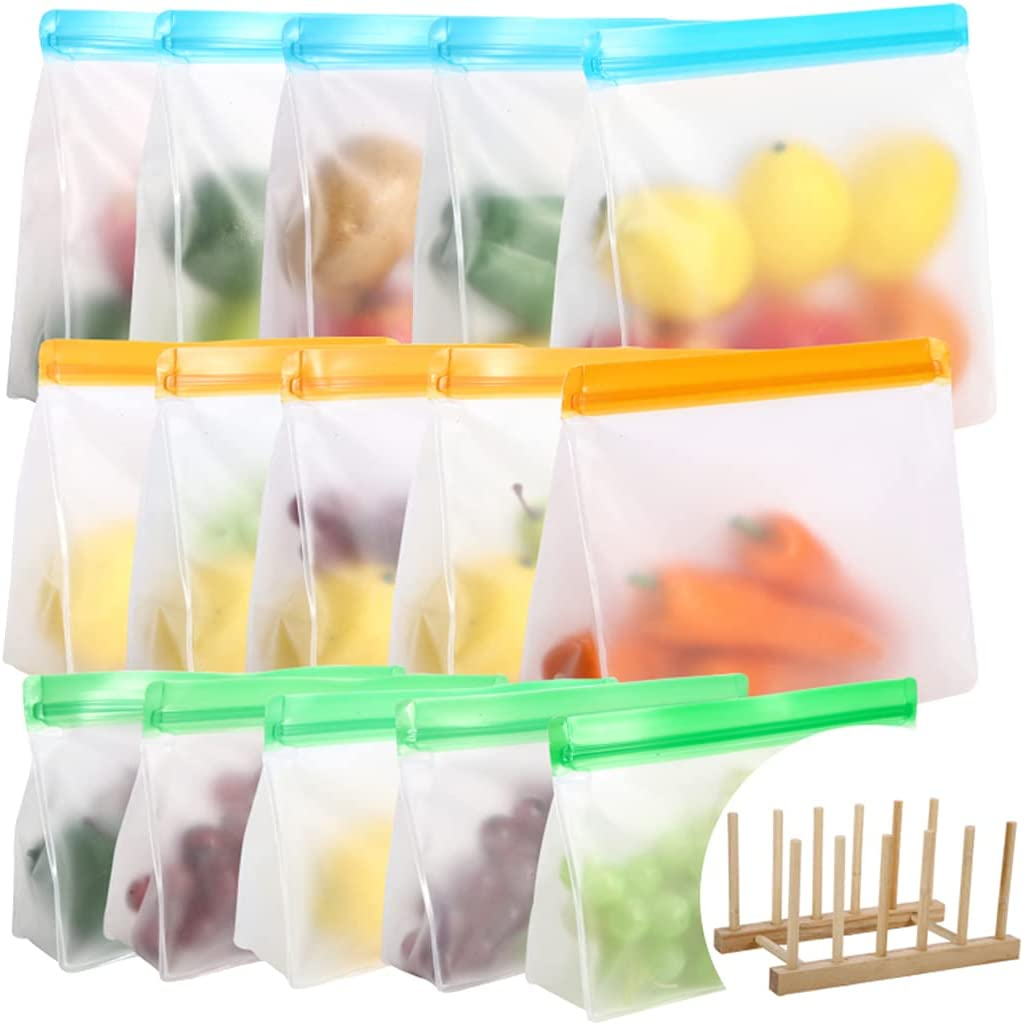 Reusable Food Storage Bags 15 Pack, Stand Up Leakproof Reusable Freezer Bags for Meat Fruit Snacks(5 Gallon & 5 Sandwich & 5 Snack bags)
