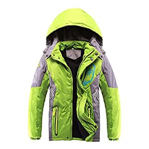 SODIAL Children Outerwear Warm Coat Sporty Kids Clothes Double-deck Waterproof Windproof Thicken Boys Girls Jackets Autumn and Winter」ィGreen 7-8T=140CM)