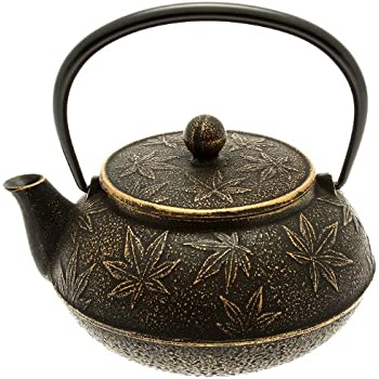 Iwachu Japanese Iron Teapot/Tetsubin, Gold and Black Maple