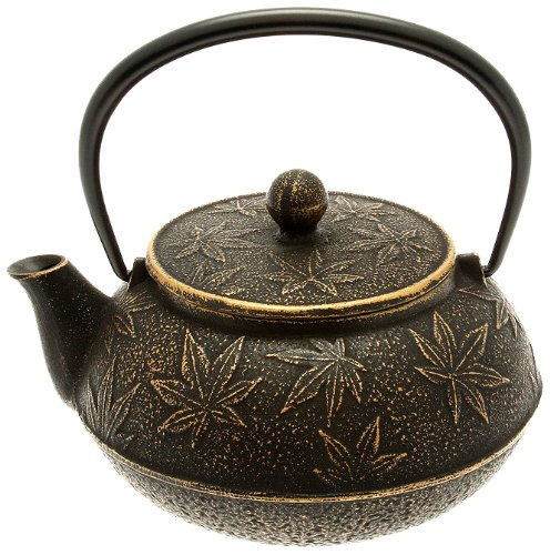 Iwachu Japanese Iron Teapot/Tetsubin, Gold and Black Maple