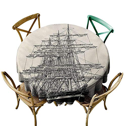 (Round Tablecloth Plaid Pirate Ship,Sailing Boat Detailed Illustration Nautical Maritime Theme Vintage Style Art,Cream Black D50,Tablecloths)