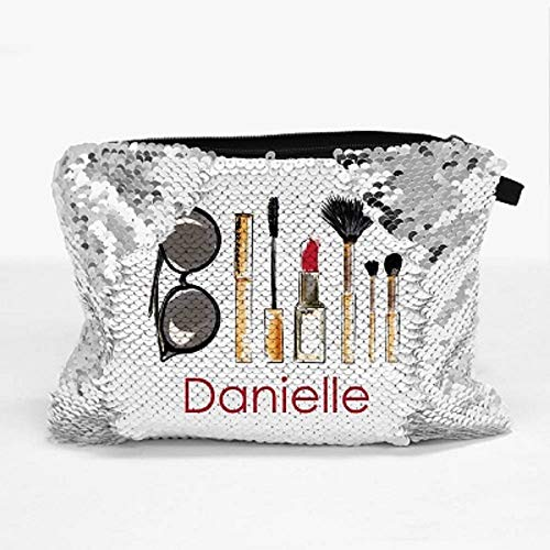 Monogram Online Personalized Sequin Makeup Zippered Pouch Bag