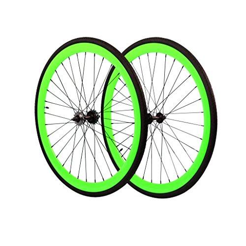 Flip Flop Rear Hub (Fixie Wheels Set Fixed Gear Flip-Flop Rear Wheels with Kenda Tires, Neon Green, 45 mm)