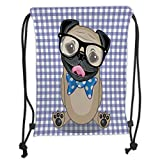 Custom Printed Drawstring Sack Backpacks Bags,Pug,Nerdy Glasses and Dotted Bow Tie on a Puppy Pug with a Checkered Backdrop,Sand Brown Black Blue Soft Satin,5 Liter Capacity,Adjustable String Closure,