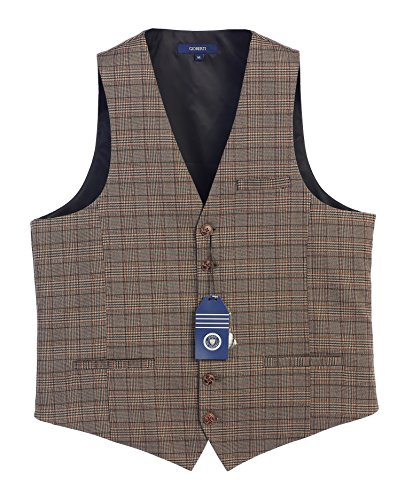Gioberti Men's 6 Button Custom Formal Tweed Vest, Checkered Brown, X Small for $<!--$24.99-->