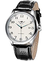Simple Watch Hand-winding Mechanical Watch Comfortable Leather Strap Fantastic Unisex Wristwatch with Calendar