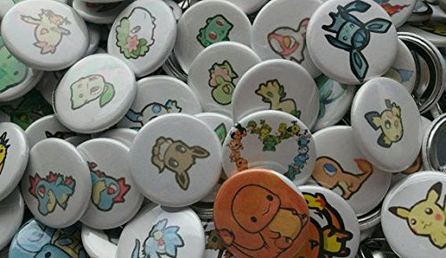 Pokemon Collectible 1'' inch Buttons - Lot of 250 Random - Custom Made - Pin Back - Gift Party Favor - by Legacy Pin Collection