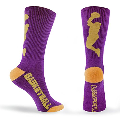 Athletic Half Cushioned Crew Socks | Basketball Player Design | Purple/Gold