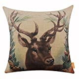 LINKWELL 18x18 inches Merry Christmas Deer Elk Wreath Burlap Throw Cushion Cover Pillowcase CC1200
