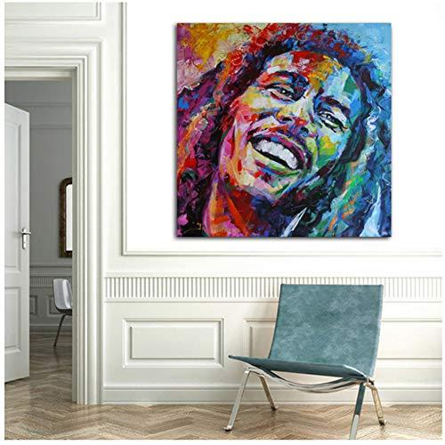 Arte Acuarela Famoso Retrato de Bob Marley Carteles Pintura de la lona Arte de la pared Imagenes para sala de estar Dormitorio -50x50cm Sin marco