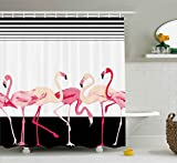 Pink Flamingo Shower Curtain Hooks Ambesonne Retro Decor Shower Curtain by, Pink Flamingo Birds Background with Stripes Love Romance Icons Shabby Chic Graphic, Fabric Bathroom Decor Set with Hooks, 70 Inches, Black
