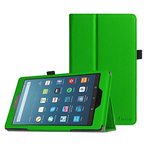 Fintie Folio Case for All-New Amazon Fire HD 8 Tablet (7th Generation, 2017 Release) - Slim Fit Premium Vegan Leather Standing Protective Cover with Auto Wake / Sleep, Green