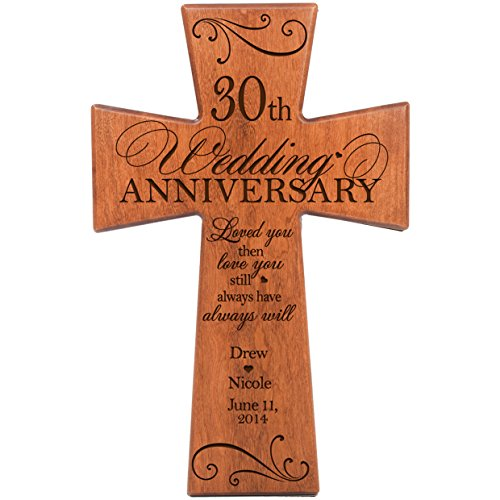 Personalized 30th Wedding Anniversary Cherry Wood Wall Cross for Couple 30 Year for Her, for Him Love You Then Love You Still Always Have Always Will (7