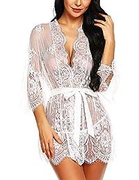 Women s Lace Kimono Robe Lingerie Eyelash Babydoll Sheer Nightwear 85168677c
