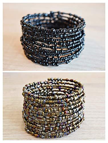Set of 2 African Bracelets for Women - Maasai Jewelry - Beaded Wrap Bracelet - Handmade in Kenya - Metallic/Different Shades of Bronze/Berry Blue/Eggplant Purple, Black, KB50