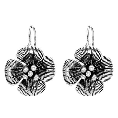 EVER FAITH Women's 925 Sterling Silver Bali Inspired Clover Flower Hook Dangle Earrings
