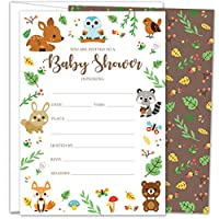 Gooji 5x7 Woodland Baby Shower Invites - Large 25pcs Double Sided Woodland Invitations with 25 Envelopes - Magical Invite Cards for Baby Shower