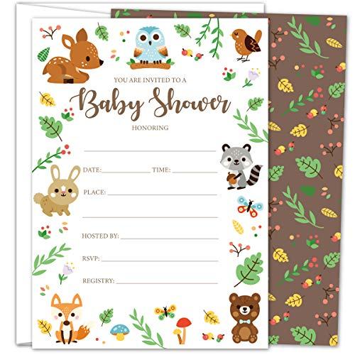 Gooji Woodland Baby Shower Invites – Large 25pcs Double Sided Woodland Invitations with 25 Envelopes – Magical Invite Cards for Baby Shower