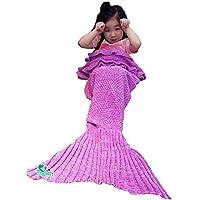 Hughapy Mermaid Blanket Kids Knitted Sleeping Bag Sofa...