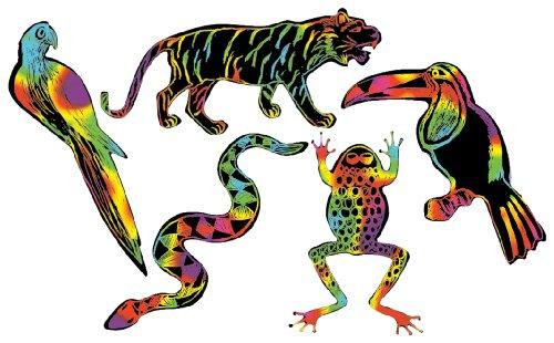 Forest Animal Craft - Melissa & Doug Scratch Art Scratchin' Shapes - Rain Forest 25-Pack, 5 Multicolor Designs