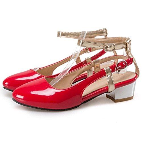 Heel Summer Women Office Shoes Sandals Red Block Toe Closed Fashion Heel Mid TAOFFEN OCvw0