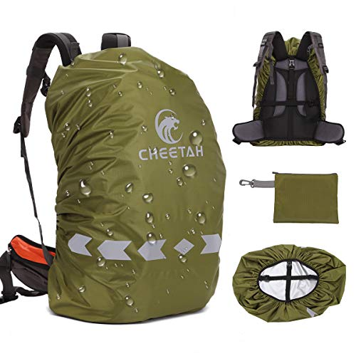 (Cheetah Outdoor 100% Waterproof Backpack Rain Covers (45L-80L) with Adjustable Anti-Slip Cross Buckle Strap and Reflective Strip, Durable Strengthened Layer for Hiking, Hunting, Biking ArmyGreen-XL)