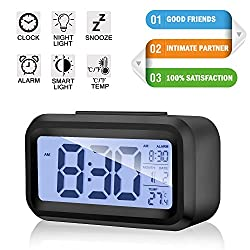 Alarm Clock Digital LCD Large Display Battery Operated Portable Modern Smart Snooze Silent Backlight Senor Date Time Temperature Clock for Heavy Sleepers Bedroom Kitchen Office Travel (black)
