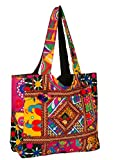 quilted fabric bags - Tribe Azure Colorful Floral Boho Large Shoulder Bag Tote Women Handbag Purse Fashion Casual Spacious Unique Tassel Flower Market School Beach Summer Books Travel (Red)