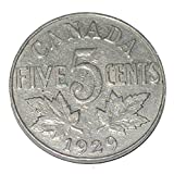 Canada 1929 5 Cents George V Canadian Nickel