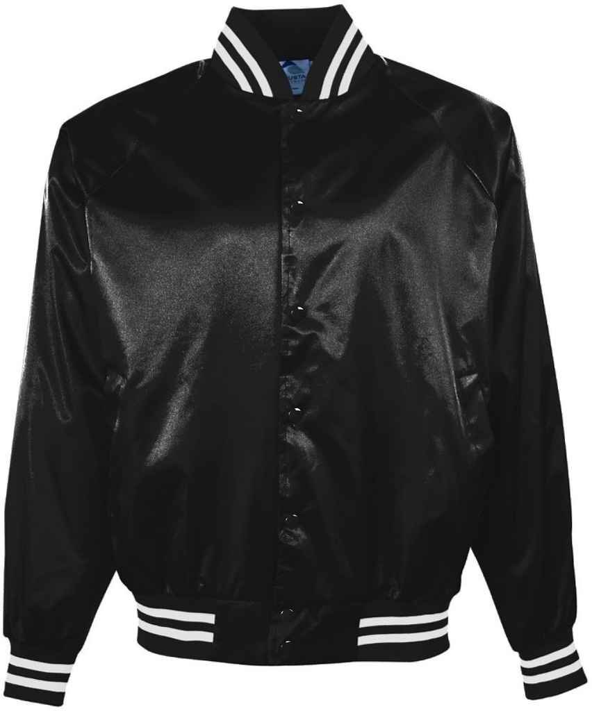 Augusta Sportswear Boys 'サテンBBLL JKT /ストライプTRM B004P363FE Small|ブラック/ホワイト ブラック/ホワイト Small