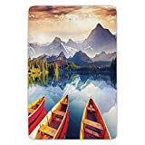 ziHeadwear Bathroom Bath Rug Kitchen Floor Mat Carpet,Nature,Dreamy Majestic Mountains View Reflections from Shore with Boats Pastoral Landscape,Multicolor,Flannel Microfiber Non-slip Soft Absorbent
