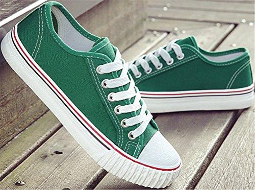 Zapatos De Lona De Satuki Para Las Mujeres, Holgazán Plano Con Cordones Zapatillas De Moda De Los Deportes Ocasionales Verdes