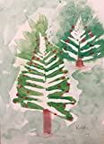 (10) MD Anderson Children's Art Project Oversize Christmas Holiday Cards - Fern Christmas Tree - White Envelopes - Seasons Greetings
